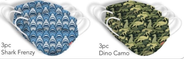 DISPOSABLE KIDS MASKS, SHARK FRENZY & CAMO DINOSAURS