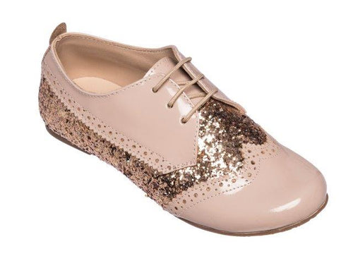 ELEPHANTITO WING TIP OXFORDS IN GLITTER ROSE