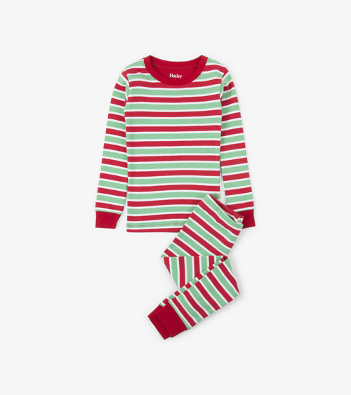 ORGANIC PAJAMA SET IN HOLIDAY STRIPES BY HATLEY