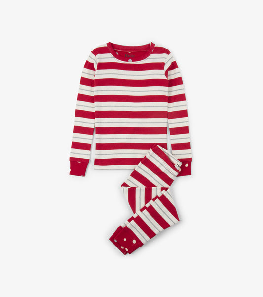 ORGANIC COTTON PAJAMA SET IN HOLIDAY METALLIC STRIPES & DOTS BY HATLEY