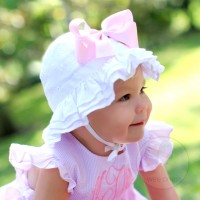 RUFFLE WHITE EYELET SUNHAT (ADD A BOW)