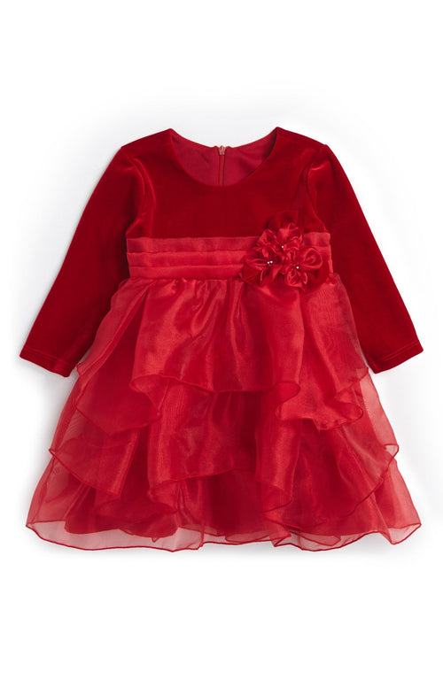 RED EMPIRE WAIST VELVET & TULLE PARTY DRESS BY ISOBELLA & CHLOE