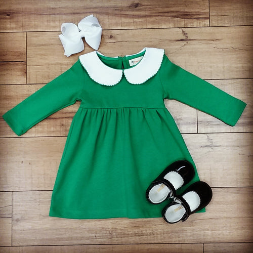 GREEN LONG SLEEVE PETER PAN COLLAR DRESS WITH PICOT EDGE DETAIL BY LUIGI #19140G