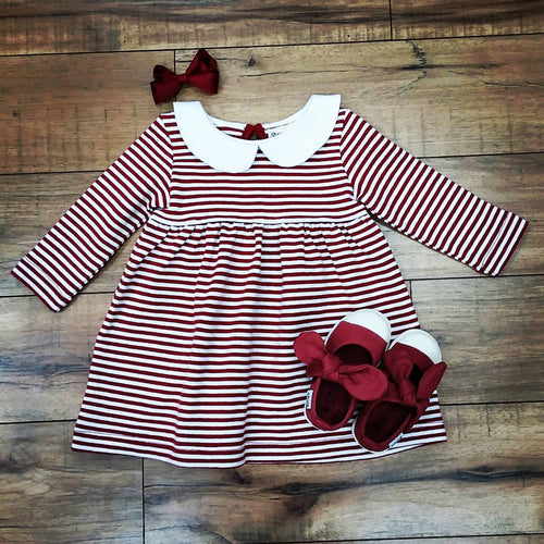 BURGUNDY STRIPE PETER PAN COLLAR DRESS BY LUIGI