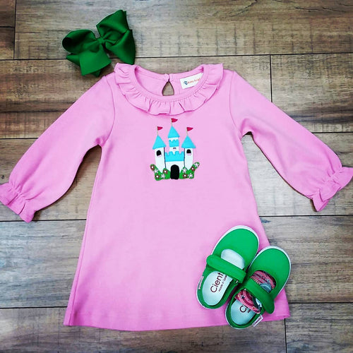 LONG SLEEVE PINK CASTLE APPLIQUE DRESS BY LUIGI