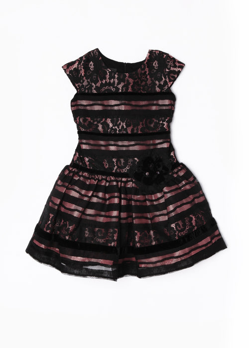 SHORT SLEEVE, DROP WAIST, BLACK LACE PARTY DRESS BY ISOBELLA & CHLOE