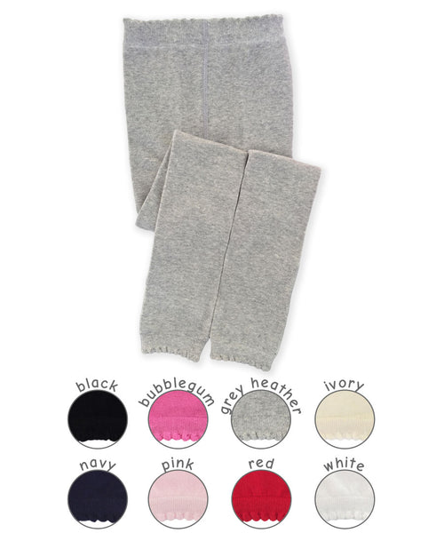 SCALLOPED PIMA COTTON FOOTLESS TIGHTS/LEGGINGS IN ASSORTED COLORS