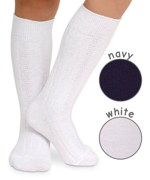 CLASSIC CABLE KNIT KNEE HIGH IN WHITE OR NAVY