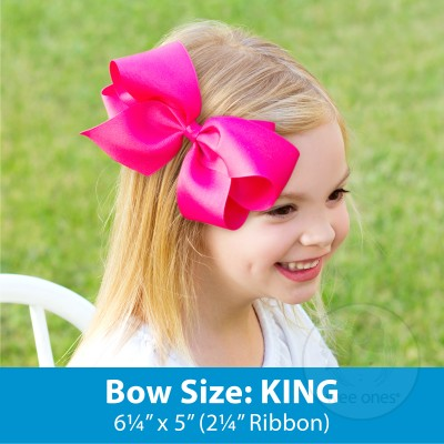 KING MONOGRAMMED GROSSGRAIN BOW-HOT PINK WITH WHITE INITIAL