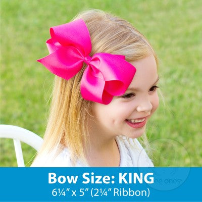 KING MONOGRAMMED GROSSGRAIN BOW-PEARL WITH SHOCKING PINK INITIAL