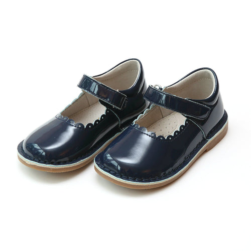 CAITLIN SCALLOPED MARY JANE IN PATENT NAVY #19488PN