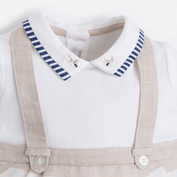 MAYORAL DUNGAREE SET IN NOUGAT #21703