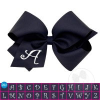 MINI MONOGRAMMED GROSSGRAIN BOW-NAVY WITH WHITE INITIAL