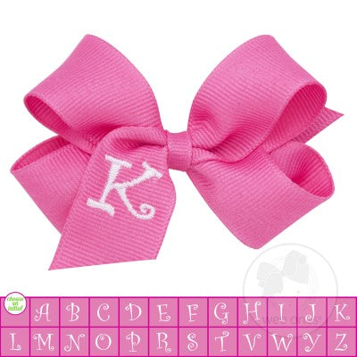 MINI MONOGRAMMED GROSSGRAIN BOW-HOT PINK WITH WHITE INITIAL