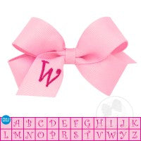MINI MONOGRAMMED GROSSGRAIN BOW-PEARL PINK WITH SHOCKING PINK INITIAL