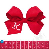 MINI MONOGRAMMED GROSSGRAIN BOW-RED WITH WHITE INITIAL