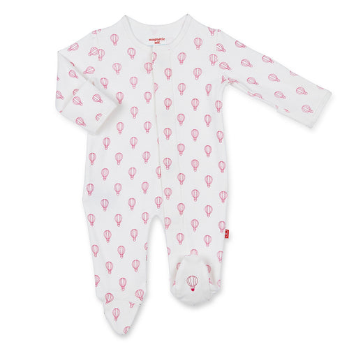 PINK OPEN SKY ORGANIC COTTON MAGNETIC FOOTIE #1740619