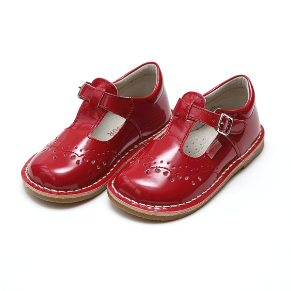 RUTHIE T-STRAP STITCH DOWN MARY JANE IN RED PATENT
