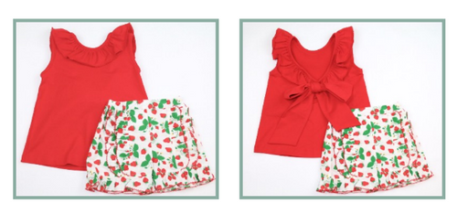 STRAWBERRY BOW BACK SHORT SET #6720