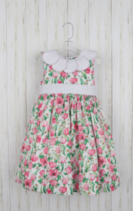 FLORAL PRINT TULIP DRESS WITH PETAL COLLAR BY LULI & ME