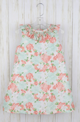 A-LINE VINTAGE AQUA FLORAL PRINT DRESS BY LULI & ME