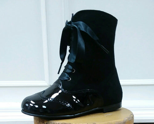 GEPPETTOS BLACK PATENT & SUEDE BOOT