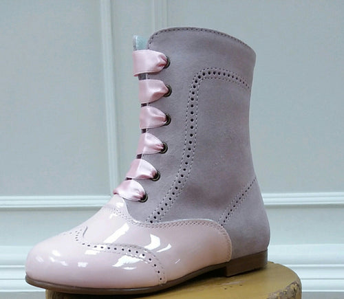 GEPPETTOS PINK PATENT & SUEDE BOOT