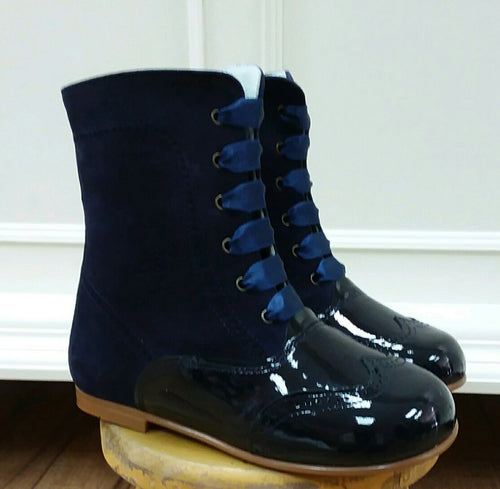 GEPPETTOS NAVY PATENT & SUEDE BOOT