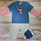 BOY'S LONG SLEEVE BACKHOE APPLIQUE  2PC PANT SET #19343