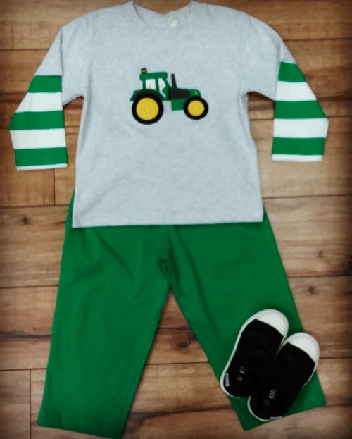 BOY'S GREEN LONG SLEEVE TRACTOR APPLIQUE 2PC PANT SET #191766