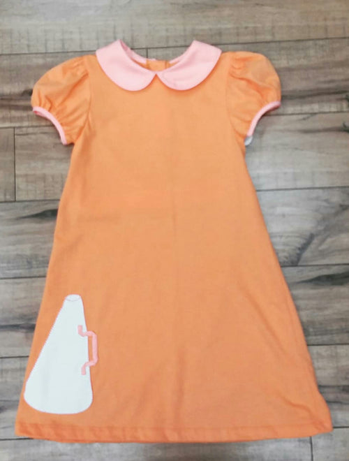 ORANGE KNIT MEGAPHONE CHEER DRESS BY LULLABY SET #1924O
