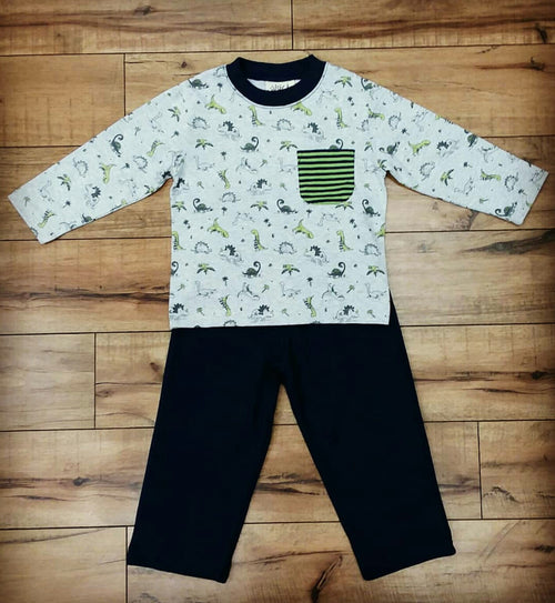 LS BOY'S DINOSAUR POCKET 2PC PANT SET