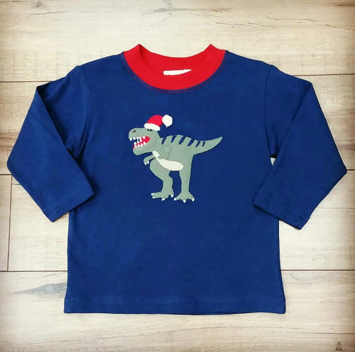 LS BOY'S CHRISTMAS DINO SHIRT #91819C