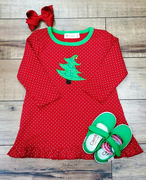 RED LONG SLEEVE POLKA DOT DRESS WITH CHRISTMAS TREE APPLIQUE BY LUIGI