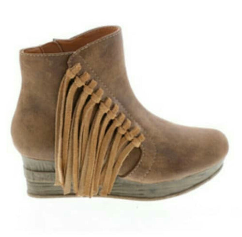 """NELSON"" BROWN FRINGE WEDGE BOOTIES"