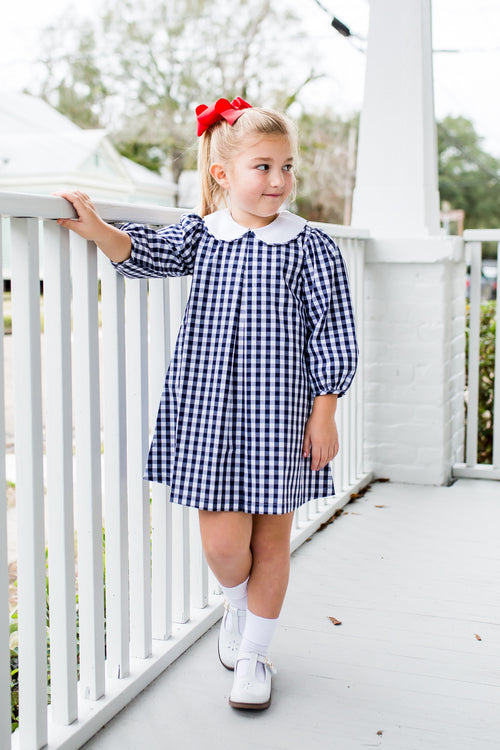 GINGHAM DRESS IN NAVY BY LULLABY SET #19210B