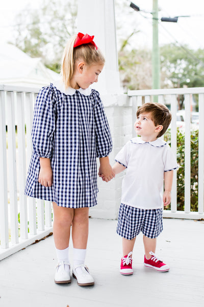 NAVY GINGHAM SHORT SET BY LULLABY SET #19865B