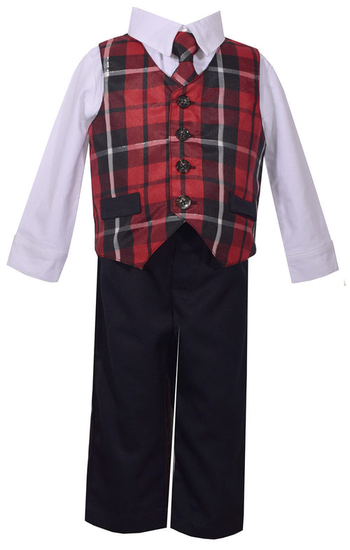 4PC SET, BOY'S RED PLAID VEST, SHIRT, TIE, PANT SET