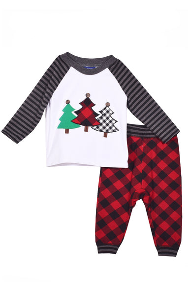 BOYS TREE APPLIQUE CHRISTMAS SET #22351