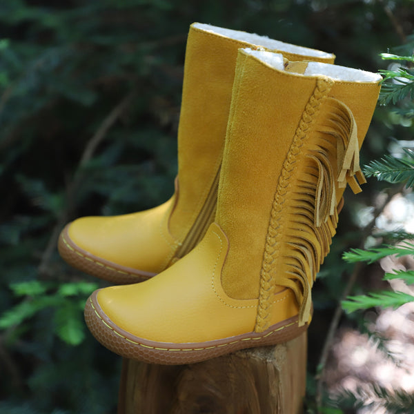 LIVIE & LUCA SONOMA LEATHER FRINGE BOOT IN BUTTERSCOTCH