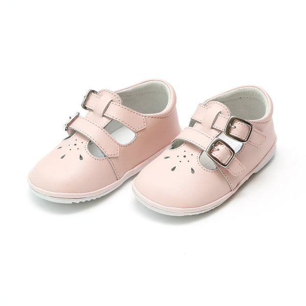 HATTIE DOUBLE BUCKLE LEATHER MARY JANE IN PINK