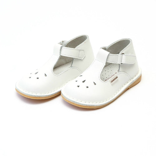 CASSIE STITCH DOWN LEATHER T-STRAP MARY JANE IN WHITE