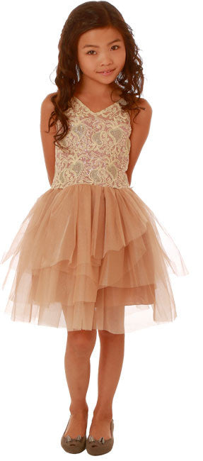 Ooh La La!  Champagne & Rose Gold V-Neck Wow Dress