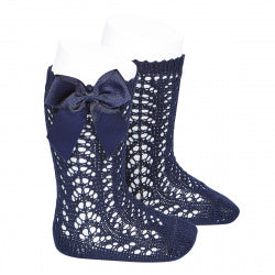 CROCHET KNEE SOCK WITH BOW IN NAVY #2519480