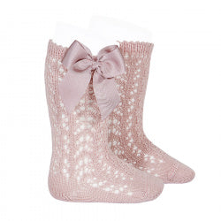 CROCHET KNEE SOCK WITH BOW IN COUNTRY PINK #2519526