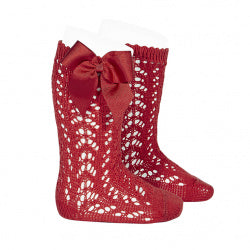 CROCHET KNEE SOCK WITH BOW IN RED #2519550