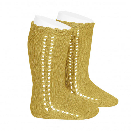 CROCHET KNEE SOCK IN MUSTARD #2569629