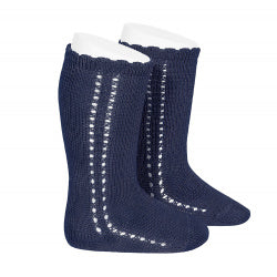 CROCHET KNEE SOCK IN NAVY #2569480