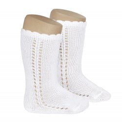 CROCHET KNEE SOCK IN WHITE #2569200