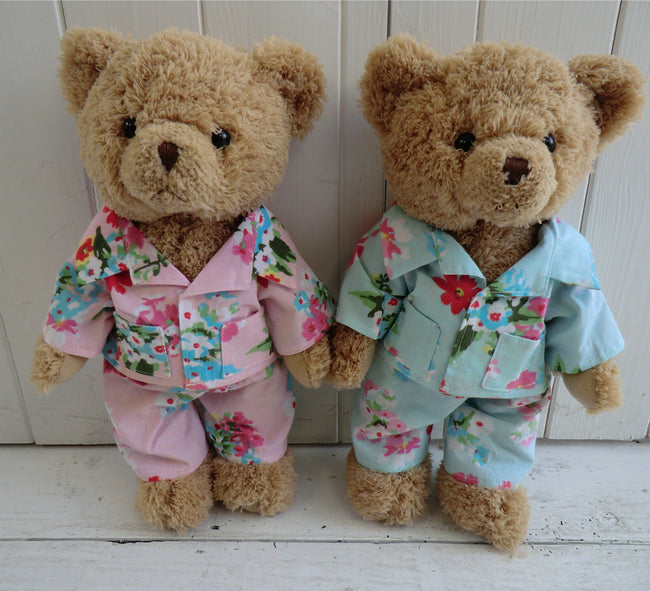 TEDDY BEAR IN BLUE FLORAL PJS